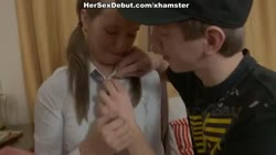 Deep oral and vaginal fuck for the blonde schoolgirl