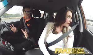 faux Driving university big chested jailbird takes instructor on a naughty ride!