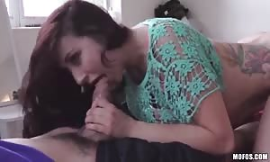 Awesome-looking black-haired is getting nailed in her wide mouth