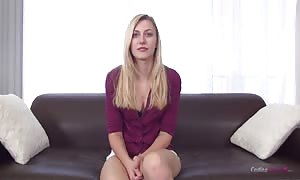 try-out blonde is proving her proper butt in the movie by casting couch X